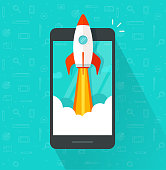 Startup vector concept, flat cartoon rocket or rocketship launch, mobile phone or smartphone, idea of successful business project start up, boost technology, innovation strategy release