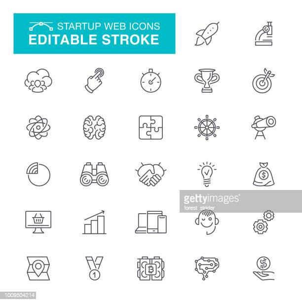 startup web editable stroke icons - balance stock illustrations