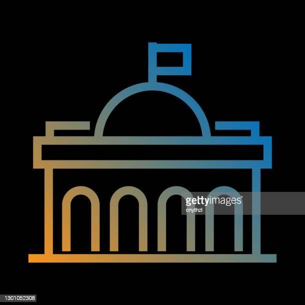 illustrations, cliparts, dessins animés et icônes de icône de ligne de bâtiment d'état, symbole vectoriel de contour - dôme