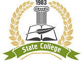 State college heraldic insignia with book and pen
