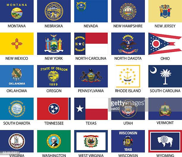 state flags - west virginia us state stock illustrations