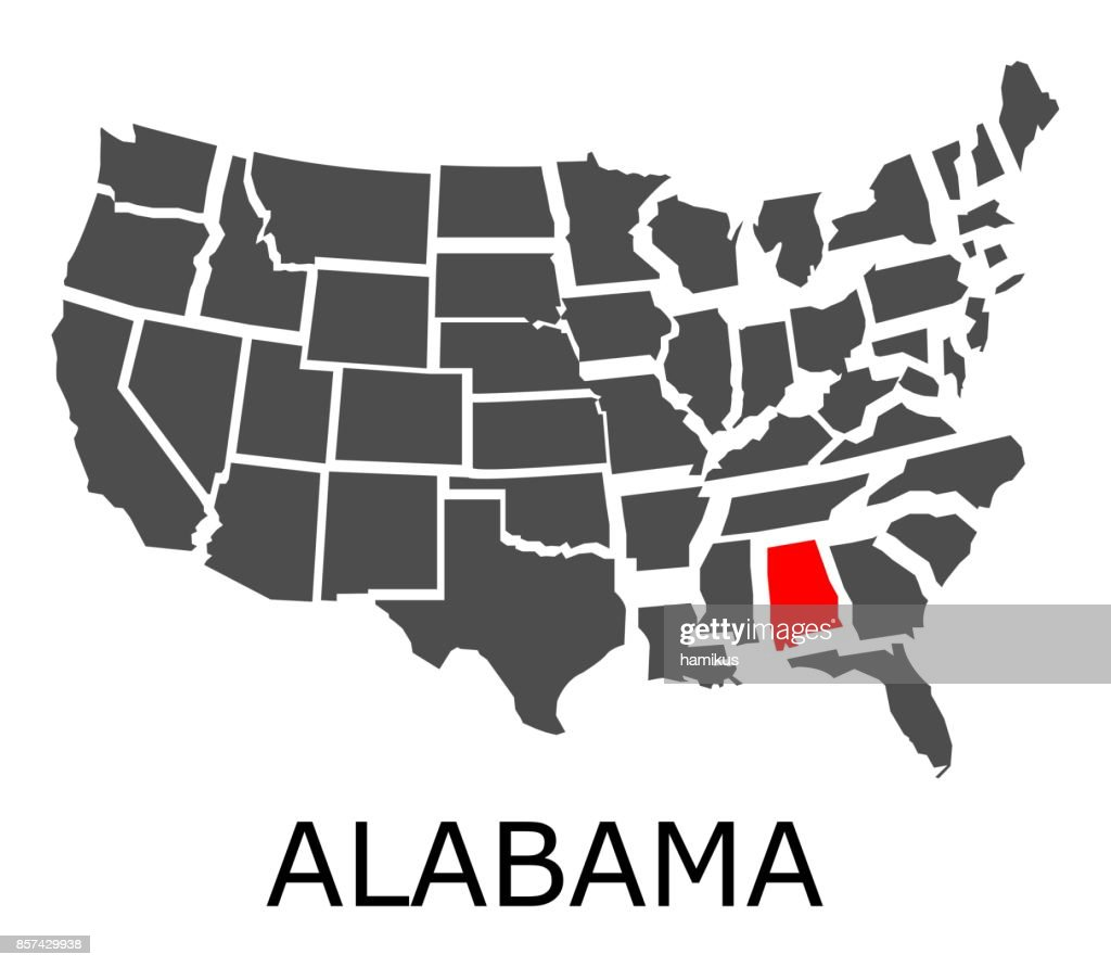 State of Alabama on map of USA