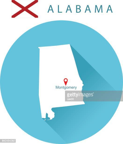 usa state of alabama's map and flag - montgomery alabama stock illustrations, clip art, cartoons, & icons