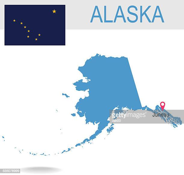 usa state of alaska's map and flag - alaska us state stock illustrations