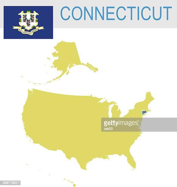 米国内の州およびコネチカット州のマップフラグ - コネチカット州ハートフォード点のイラスト素材/クリップアート素材/マンガ素材/アイコン素材