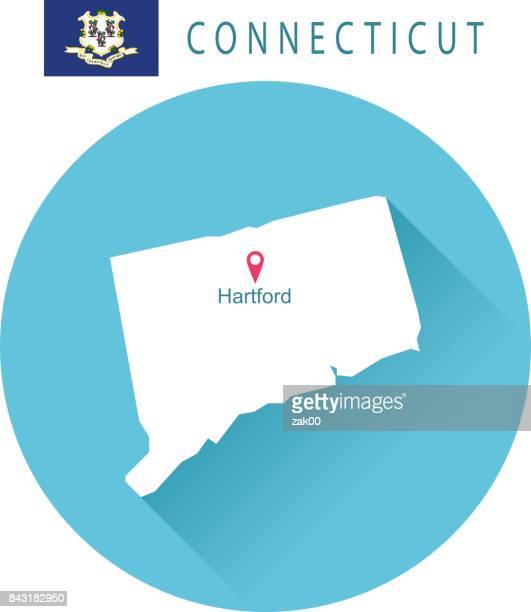 USA state Of Connecticut's map and Flag
