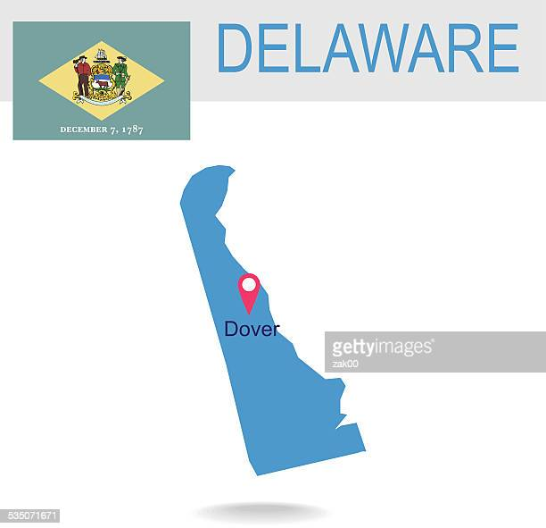 usa state of delaware's map and flag - delaware us state stock illustrations