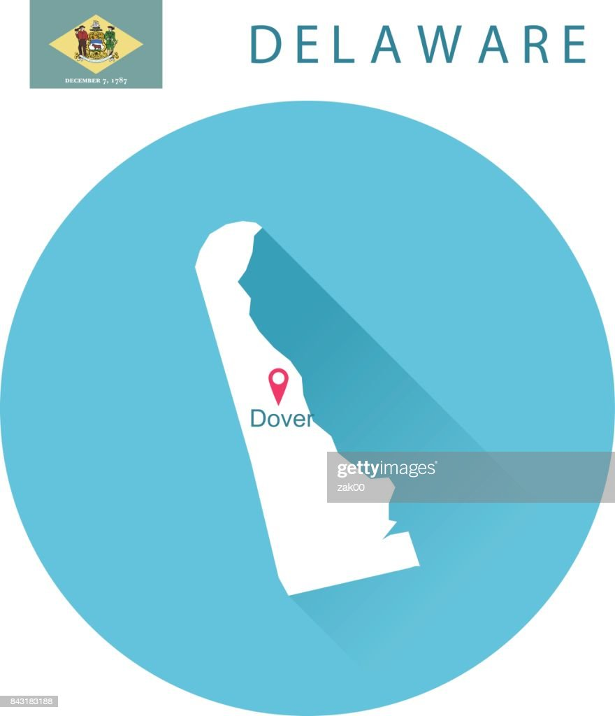 USA state Of Delaware's map and Flag