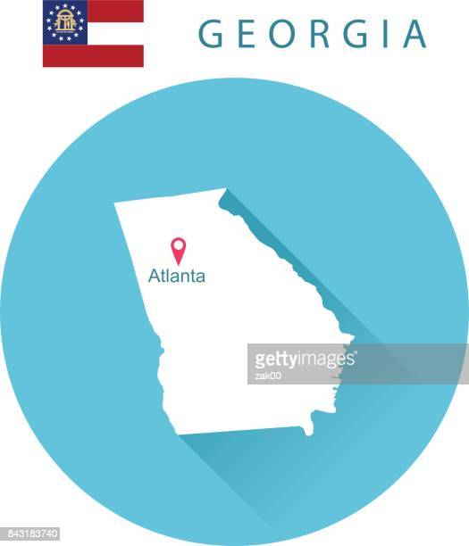 usa state of georgia's map and flag - atlanta stock illustrations, clip art, cartoons, & icons