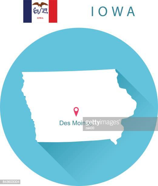 USA state Of Iowa's Map and Flag