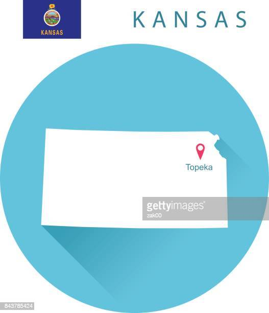 USA state Of Kansas's map and Flag