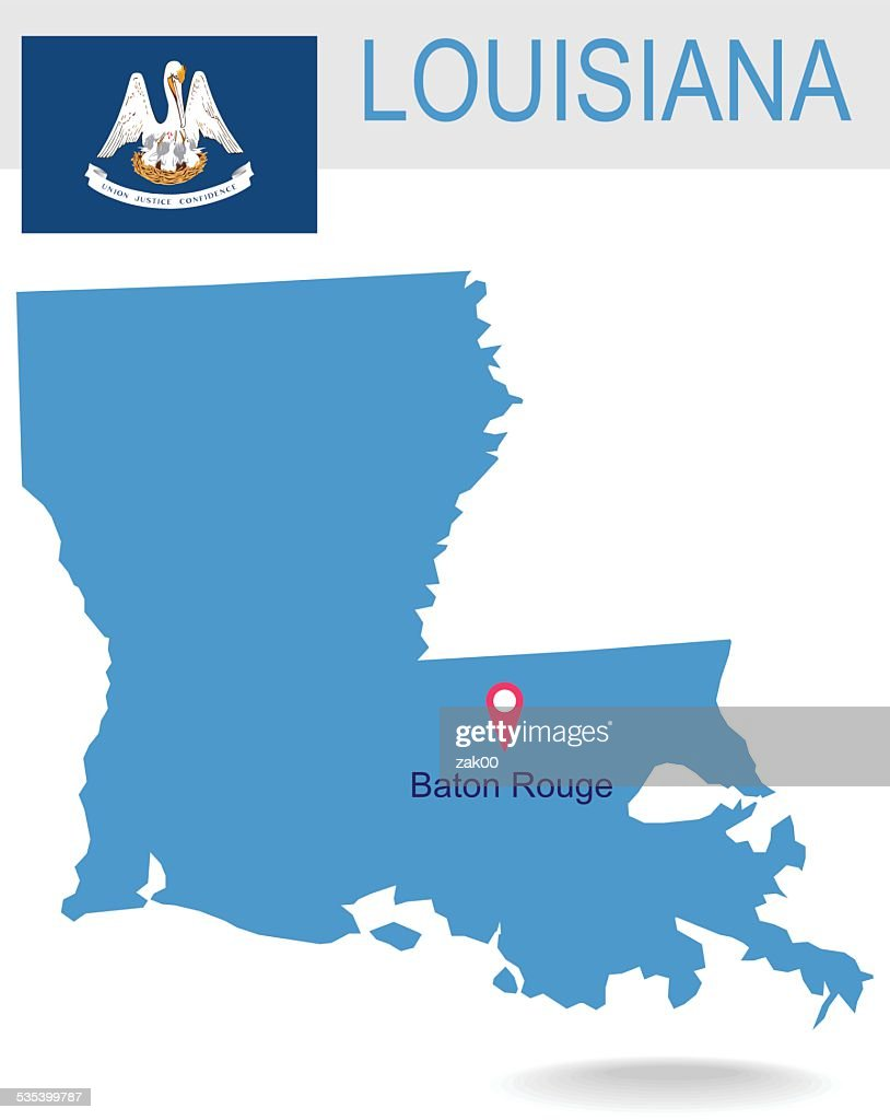 USA state Of Louisiana's map and Flag