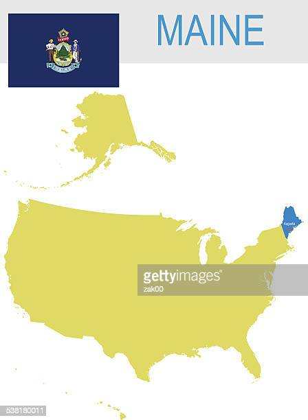 usa state of maine's map and flag - augusta maine stock illustrations