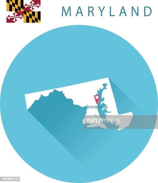 USA state Of Maryland's map and Flag