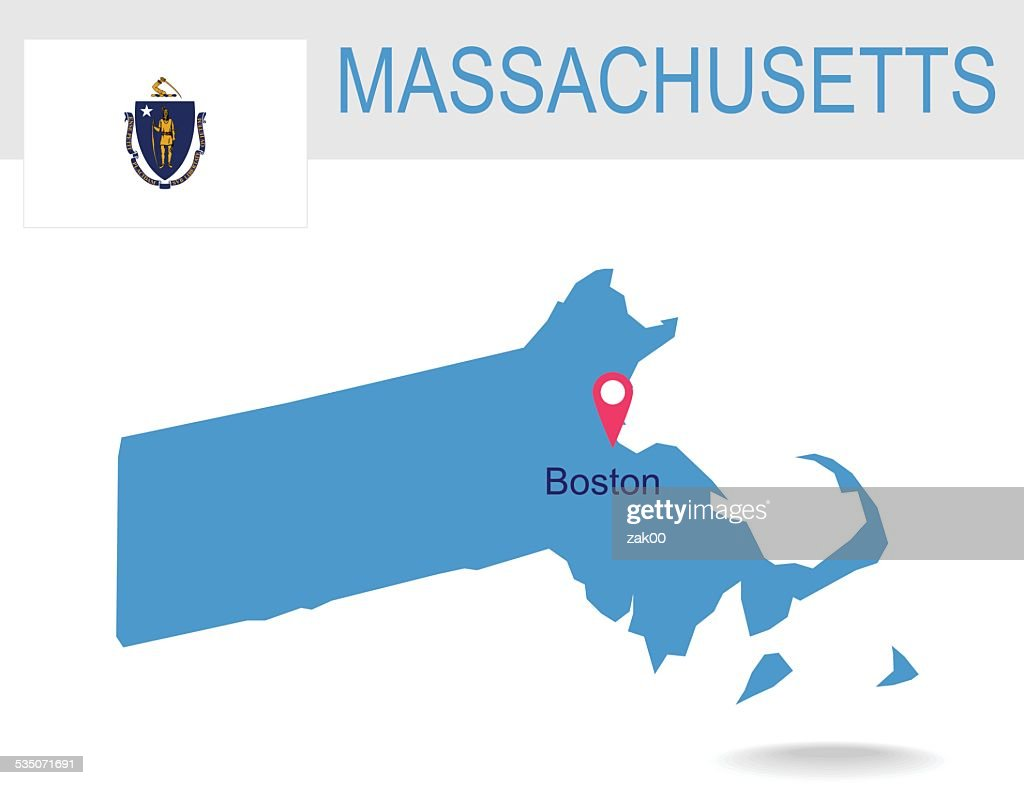 USA state Of Massachusetts's map and Flag