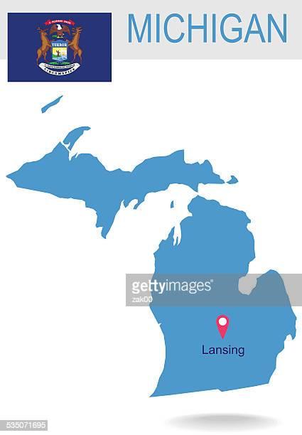 USA state Of Michigan's Karte und Flagge