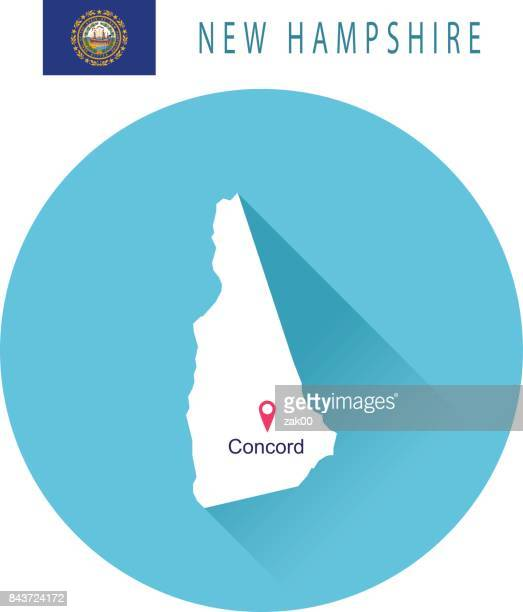 USA state Of New Hampshire's map and Flag