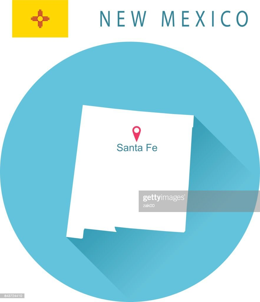 Usa State Of New Mexicos Map And Flag stock illustration ...
