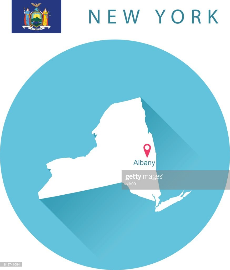 USA state Of New York's map and Flag