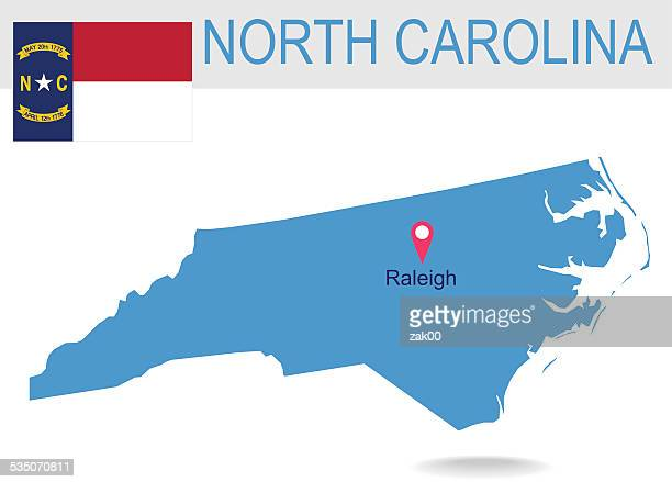 usa state of north carolina's map and flag - north carolina us state stock illustrations