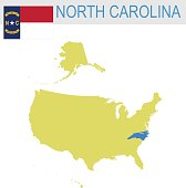 USA state Of North Carolina's map and Flag