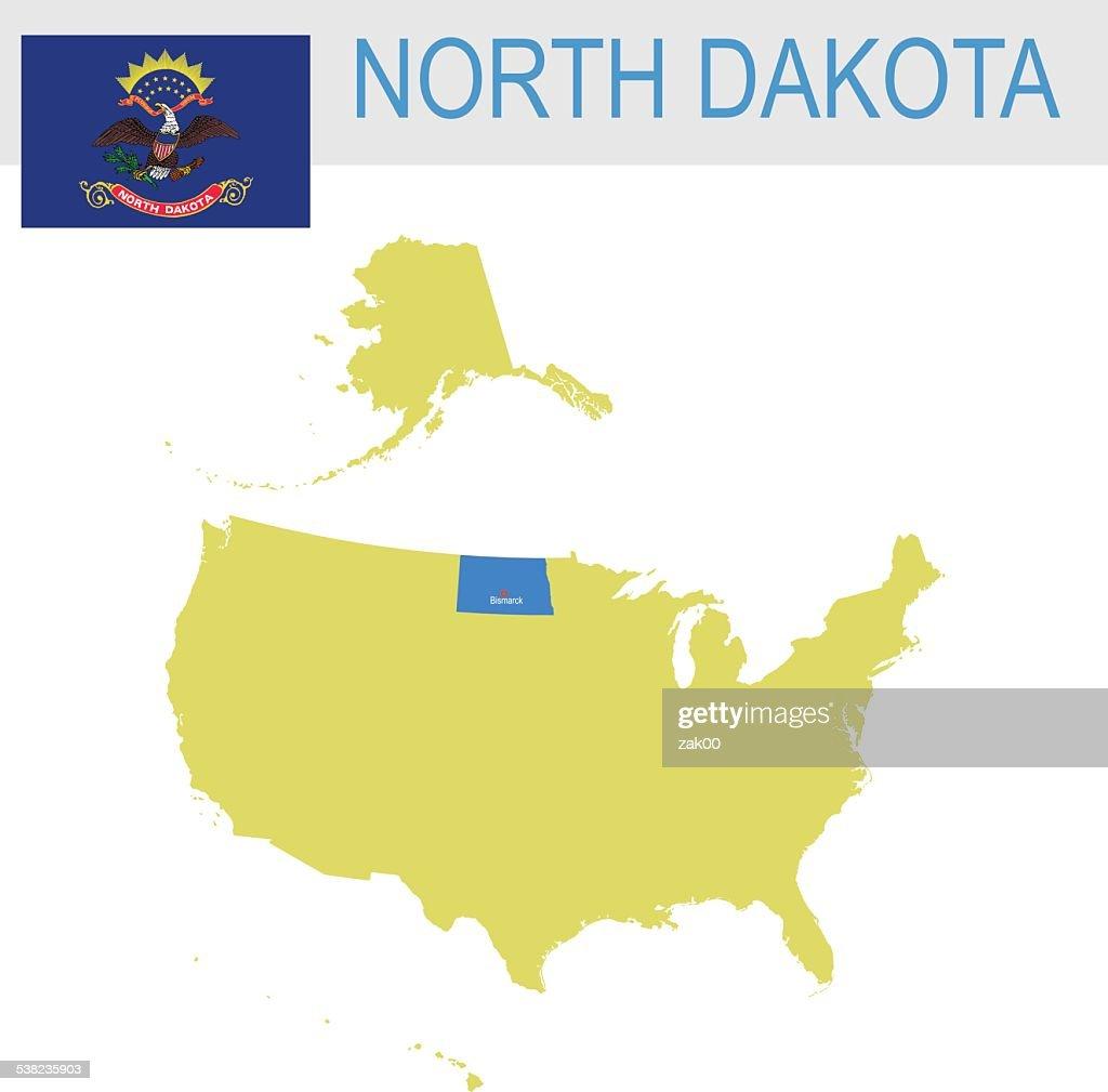 USA state Of North Dakota's map and Flag