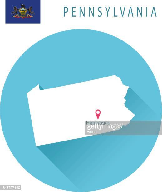 USA state Of Pennsylvania's map and Flag