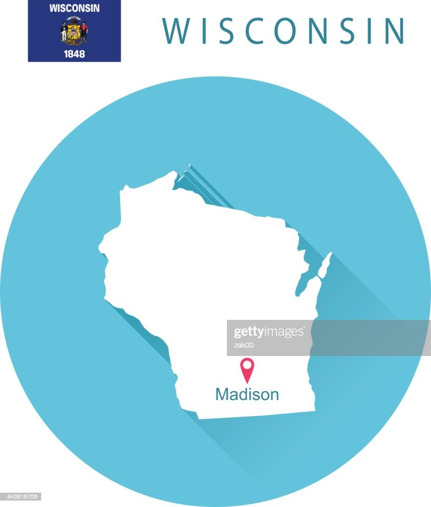 USA state Of Wisconsin's map and Flag