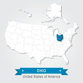 OHIO state. USA administrative map.