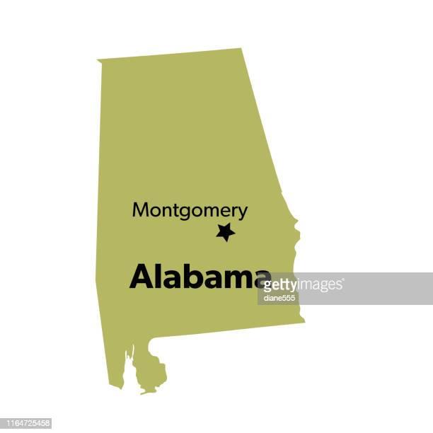u.s state with capital city, alabama - montgomery alabama stock illustrations, clip art, cartoons, & icons