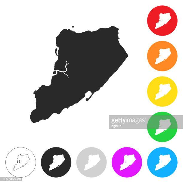 staten island map - flat icons on different color buttons - staten island stock illustrations