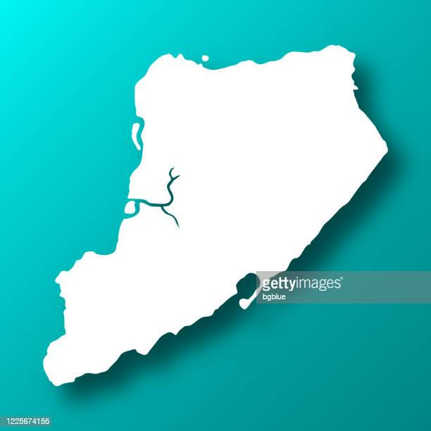staten island map on blue green background with shadow - staten island stock illustrations