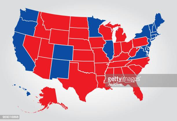 usa states election - 2016 stock illustrations, clip art, cartoons, & icons