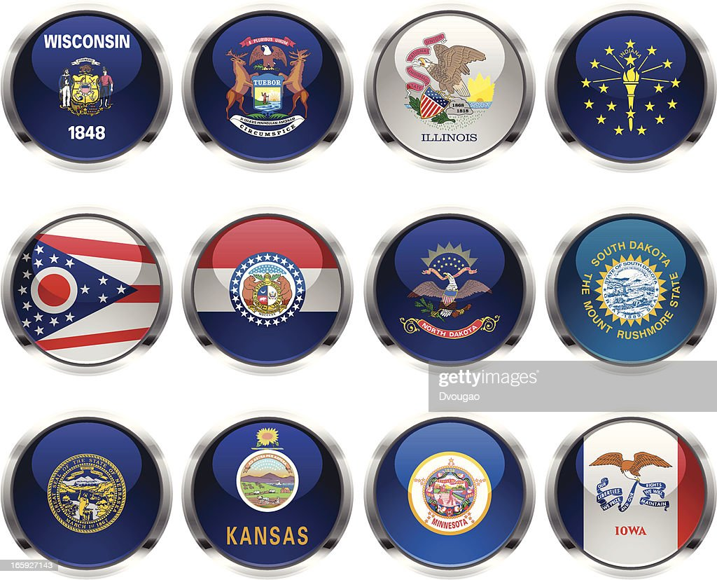 U.S States Flag Icons - Midwest