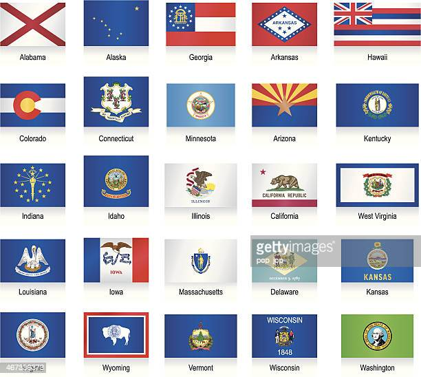 usa states flags collection - alabama stock illustrations, clip art, cartoons, & icons