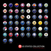 US States Flags Round Badges. All 50 Flags of the US States in a Single Vector File. Realistic 3D Glossy Buttons
