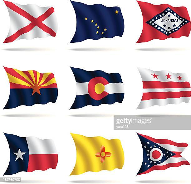 us states flags waving - alabama stock illustrations, clip art, cartoons, & icons