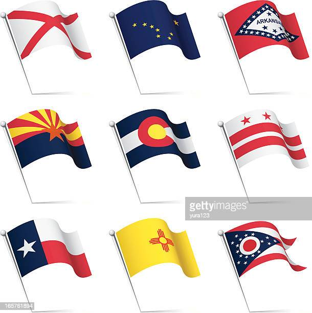 us states flags waving - new mexico stock illustrations