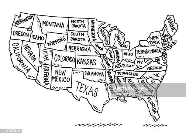 ilustrações, clipart, desenhos animados e ícones de desenho de mapas dos estados unidos - eua