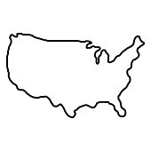 States of America territory on white background. North America. Vector illustration