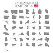States of America territory on white background. Separate states. Vector illustration