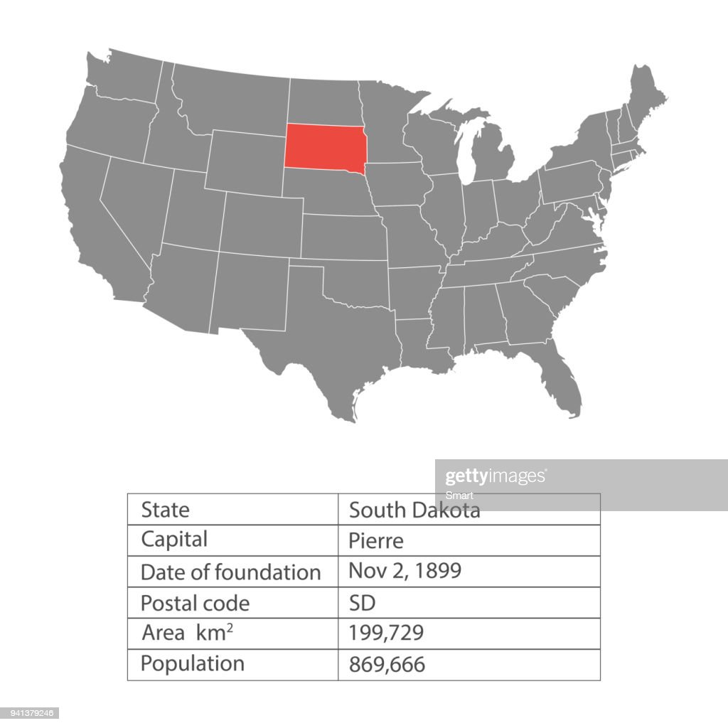 States of America territory on white background. South Dakota. Separate state. Vector illustration