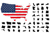 States of America territory on white background. USA flag. Separate states. Vector illustration