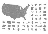 States of America territory on white background. Vector illustration