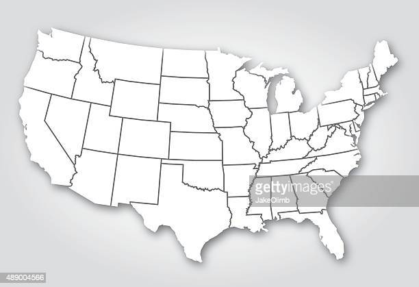 usa states silhouette white - us state border stock illustrations, clip art, cartoons, & icons