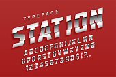 Station futuristic display typeface design, alphabet, sport