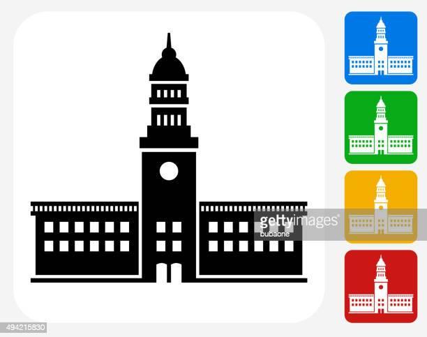 Station Icon Flat Graphic Design