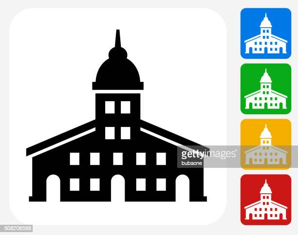 station icon flat graphic design - town hall stock illustrations