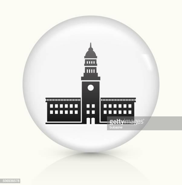 stockillustraties, clipart, cartoons en iconen met station icon on white round vector button - regeringsgebouw
