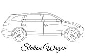 Station wagon car body type outline